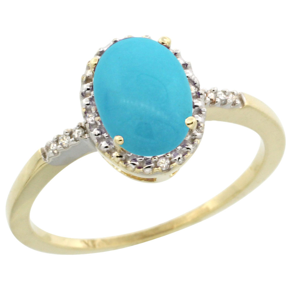 14K Yellow Gold Natural Diamond Sleeping Beauty Turquoise Ring Oval 8x6mm, sizes 5-10