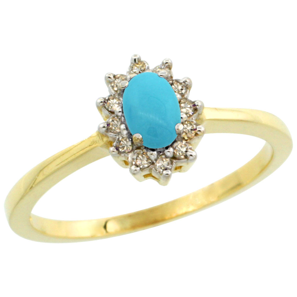 10k Yellow Gold Natural Turquoise Ring Oval 5x3mm Diamond Halo, sizes 5-10