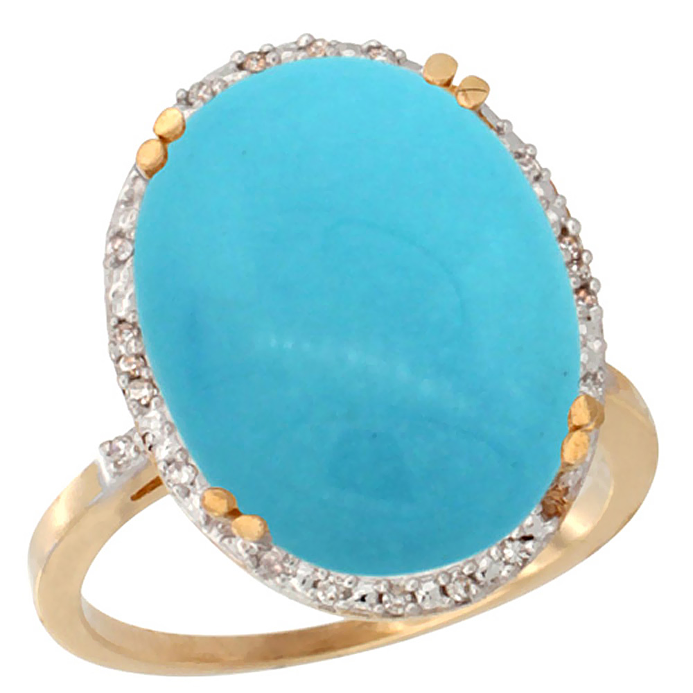10k Yellow Gold Natural Turquoise Ring Large Oval 18x13mm Diamond Halo, sizes 5-10