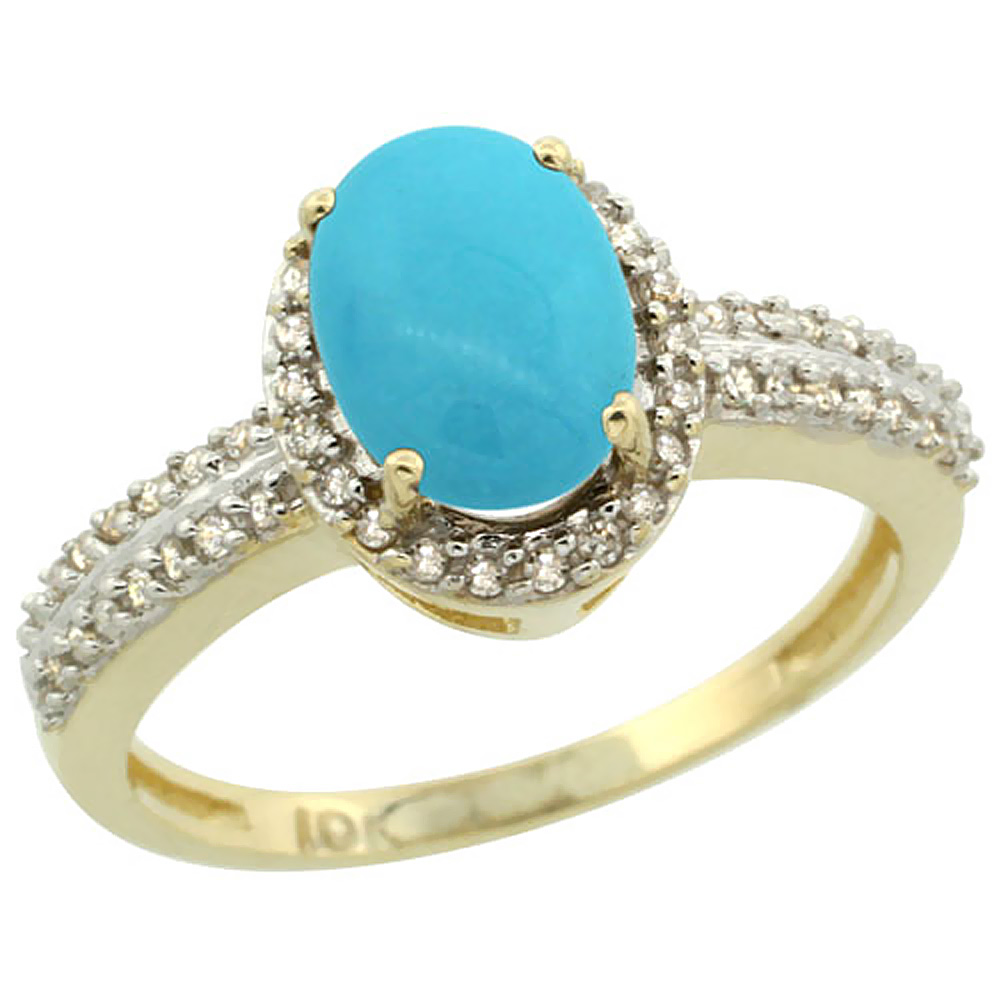 14K Yellow Gold Natural Turquoise Ring Oval 8x6mm Diamond Halo, sizes 5-10