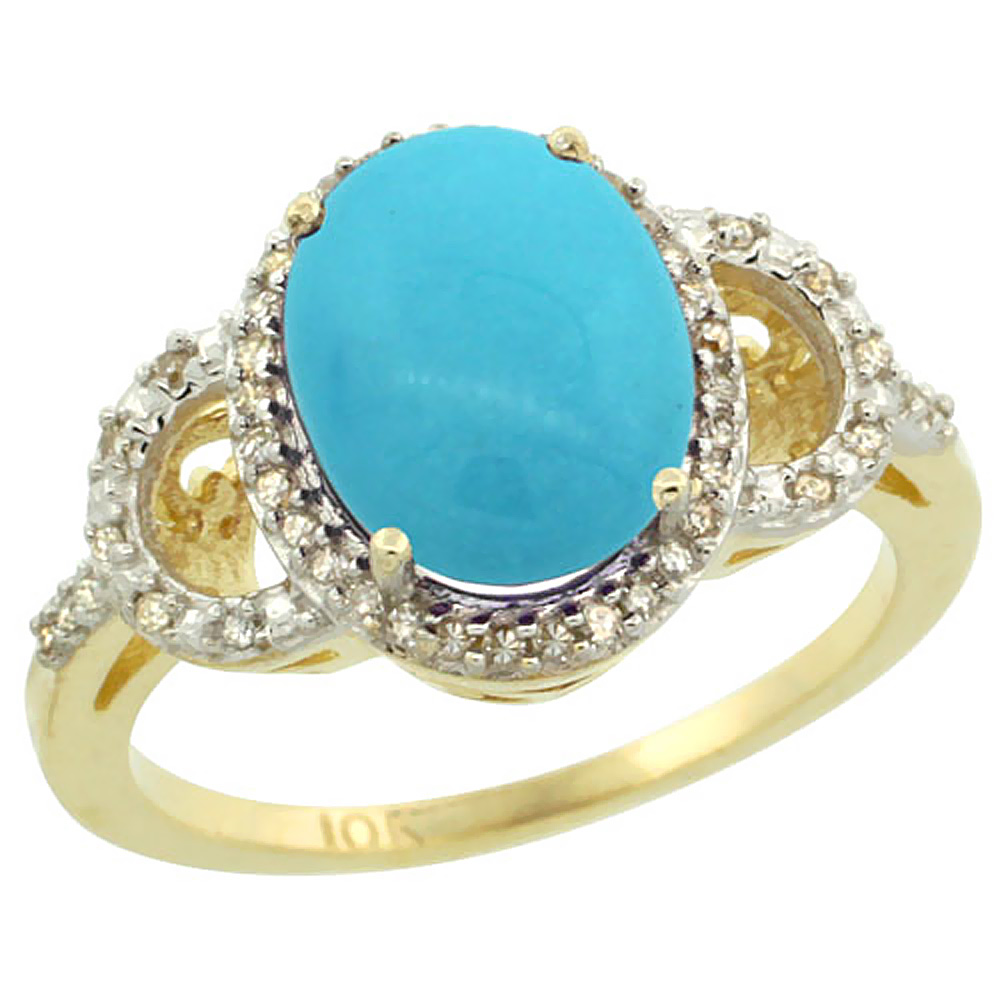 14K Yellow Gold Natural Diamond Sleeping Beauty Turquoise Engagement Ring Oval 10x8mm, sizes 5-10