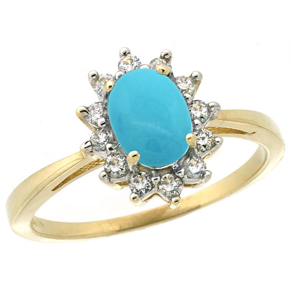 14K Yellow Gold Natural Turquoise Engagement Ring Oval 7x5mm Diamond Halo, sizes 5-10