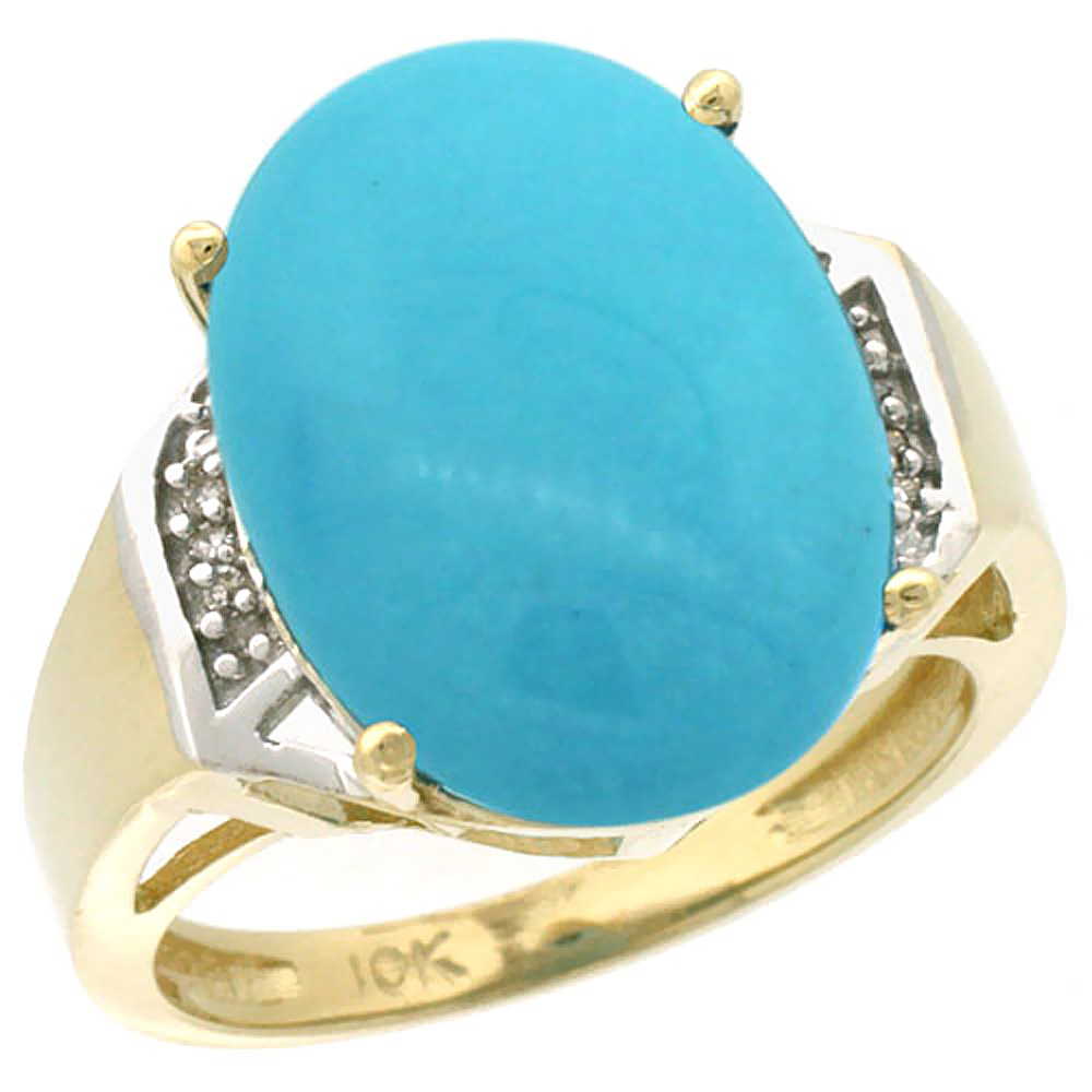 14K Yellow Gold Natural Diamond Sleeping Beauty Turquoise Ring Oval 16x12mm, sizes 5-10