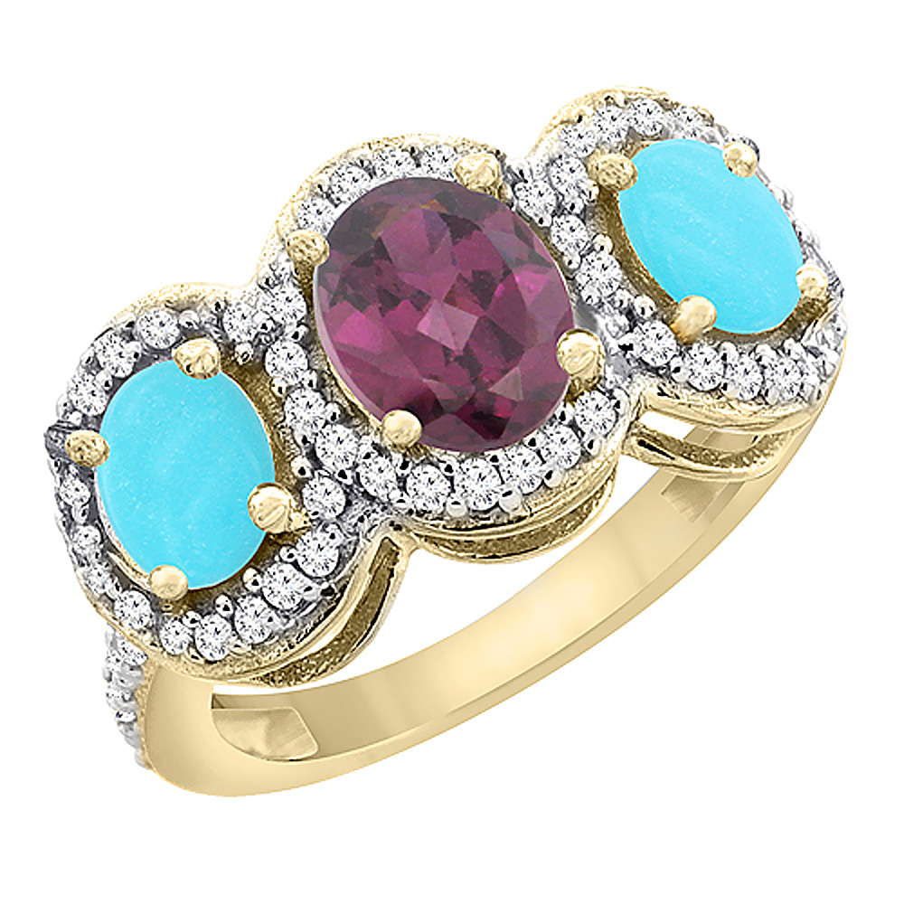 14K Yellow Gold Natural Rhodolite & Turquoise 3-Stone Ring Oval Diamond Accent, sizes 5 - 10