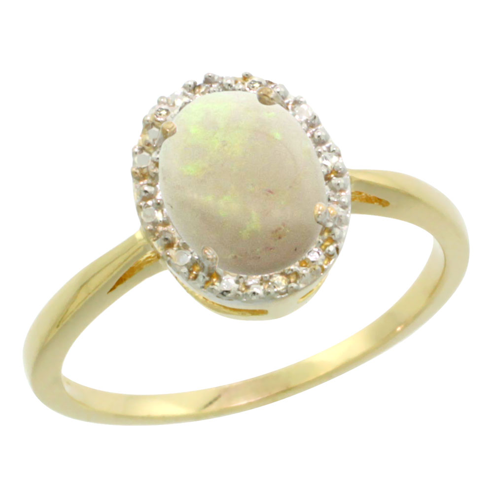 10K Yellow Gold Natural Opal Diamond Halo Ring Oval 8X6mm, sizes 5-10