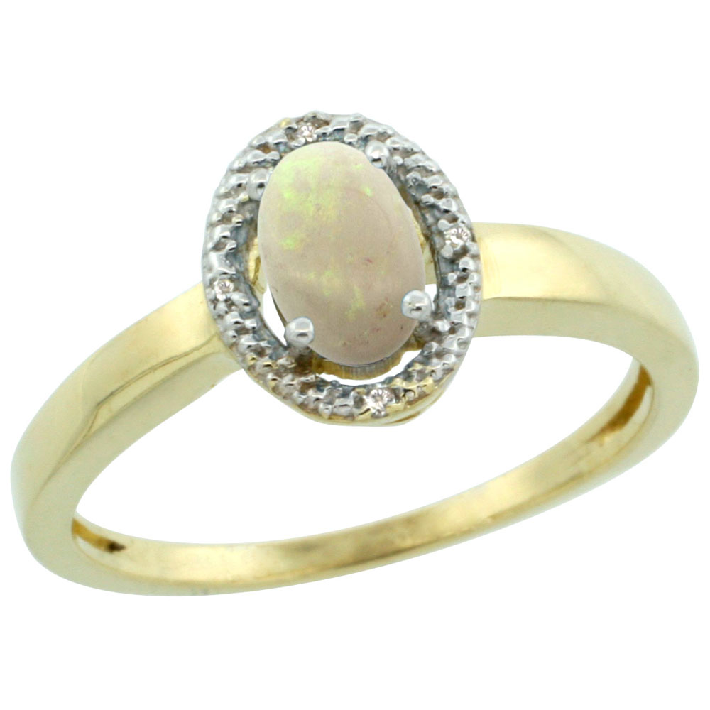 10K Yellow Gold Diamond Halo Natural Opal Engagement Ring Oval 6X4 mm, sizes 5-10