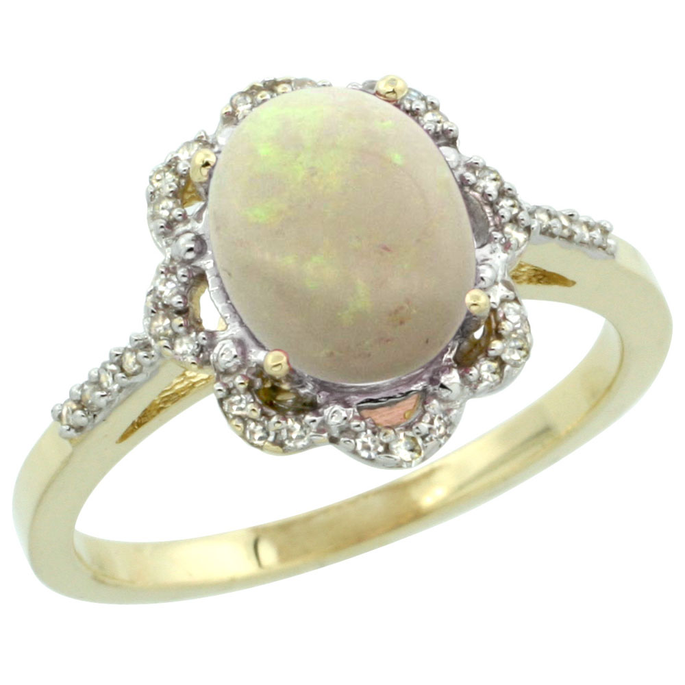 14K Yellow Gold Diamond Halo Natural Opal Engagement Ring Oval 9x7mm, sizes 5-10