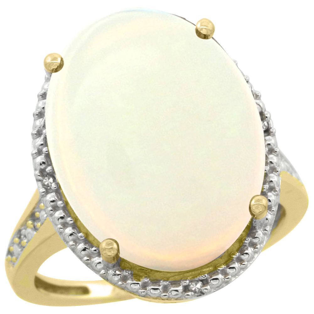 14K Yellow Gold Diamond Natural Opal Ring Oval 18x13mm, sizes 5-10