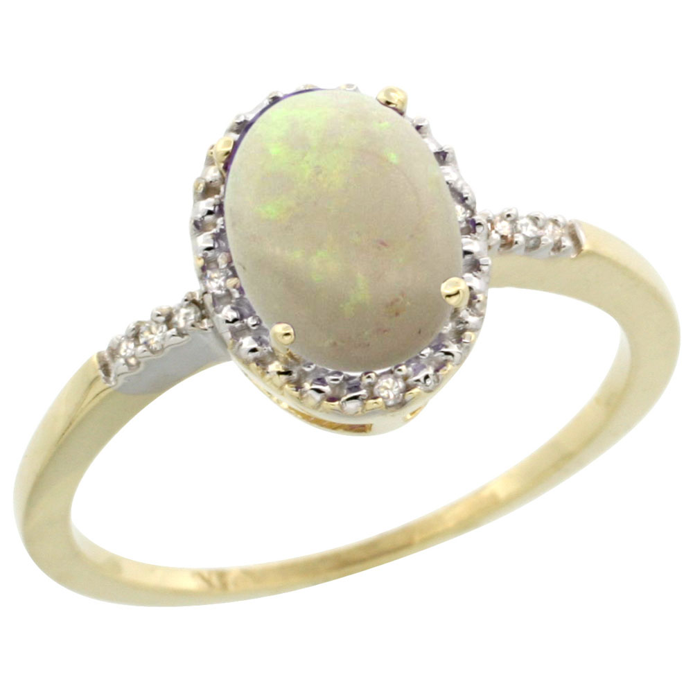 14K Yellow Gold Diamond Natural Opal Ring Oval 8x6mm, sizes 5-10