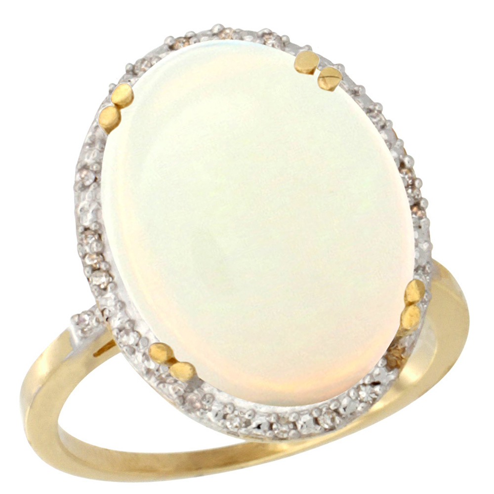 10k Yellow Gold Natural Opal Ring Large Oval 18x13mm Diamond Halo, sizes 5-10