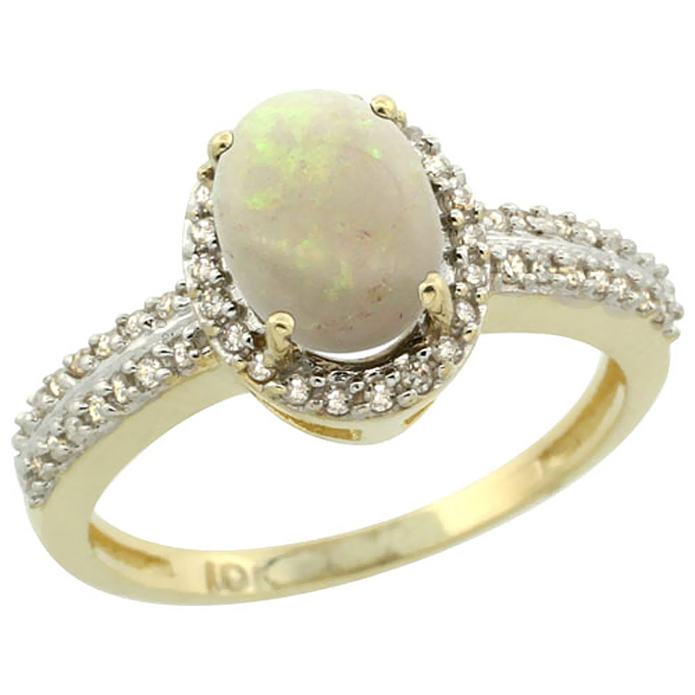 14K Yellow Gold Natural Opal Ring Oval 8x6mm Diamond Halo, sizes 5-10