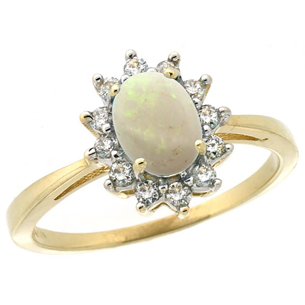 10k Yellow Gold Natural Opal Engagement Ring Oval 7x5mm Diamond Halo, sizes 5-10
