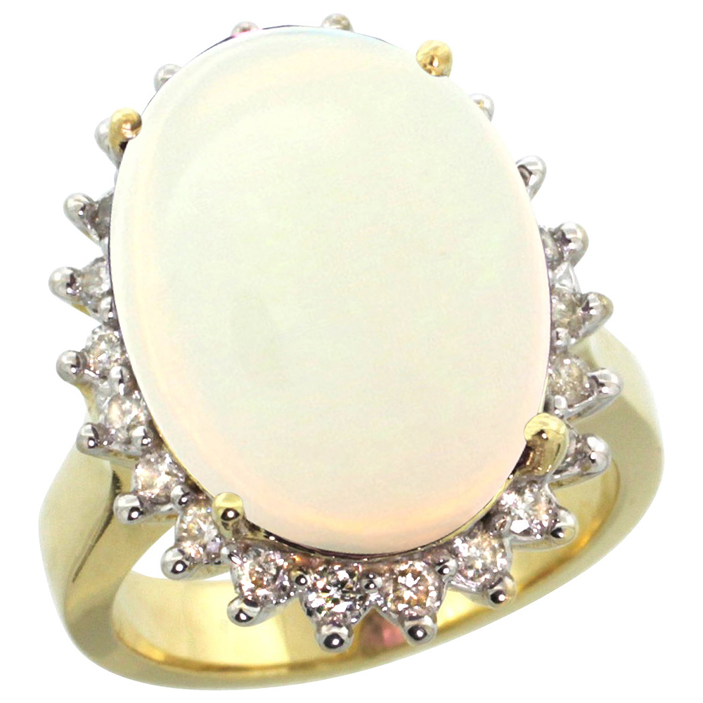 10k Yellow Gold Diamond Halo Natural Opal Ring Large Oval 18x13mm, sizes 5-10
