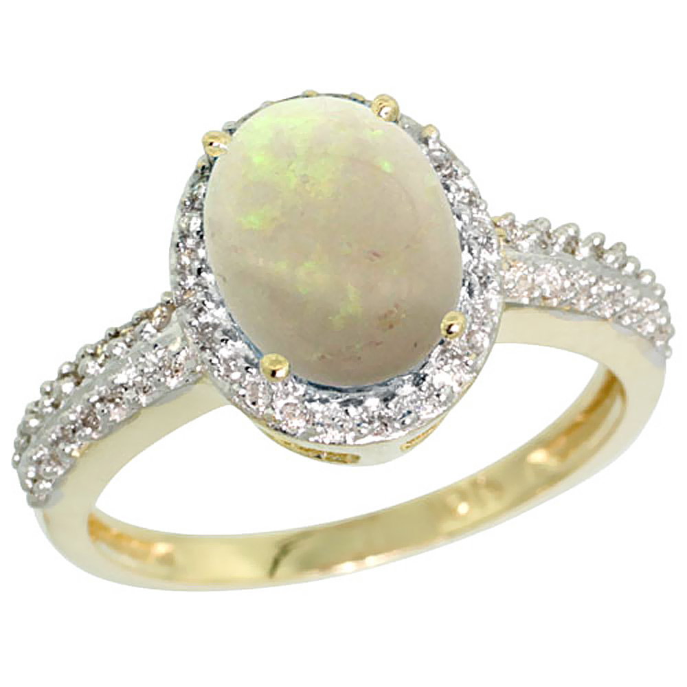 14K Yellow Gold Diamond Natural Opal Ring Oval 9x7mm, sizes 5-10
