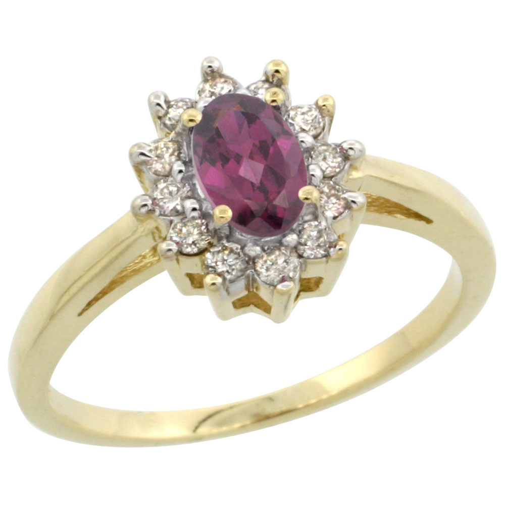 10K Yellow Gold Natural Rhodolite Flower Diamond Halo Ring Oval 6x4 mm, sizes 5 10