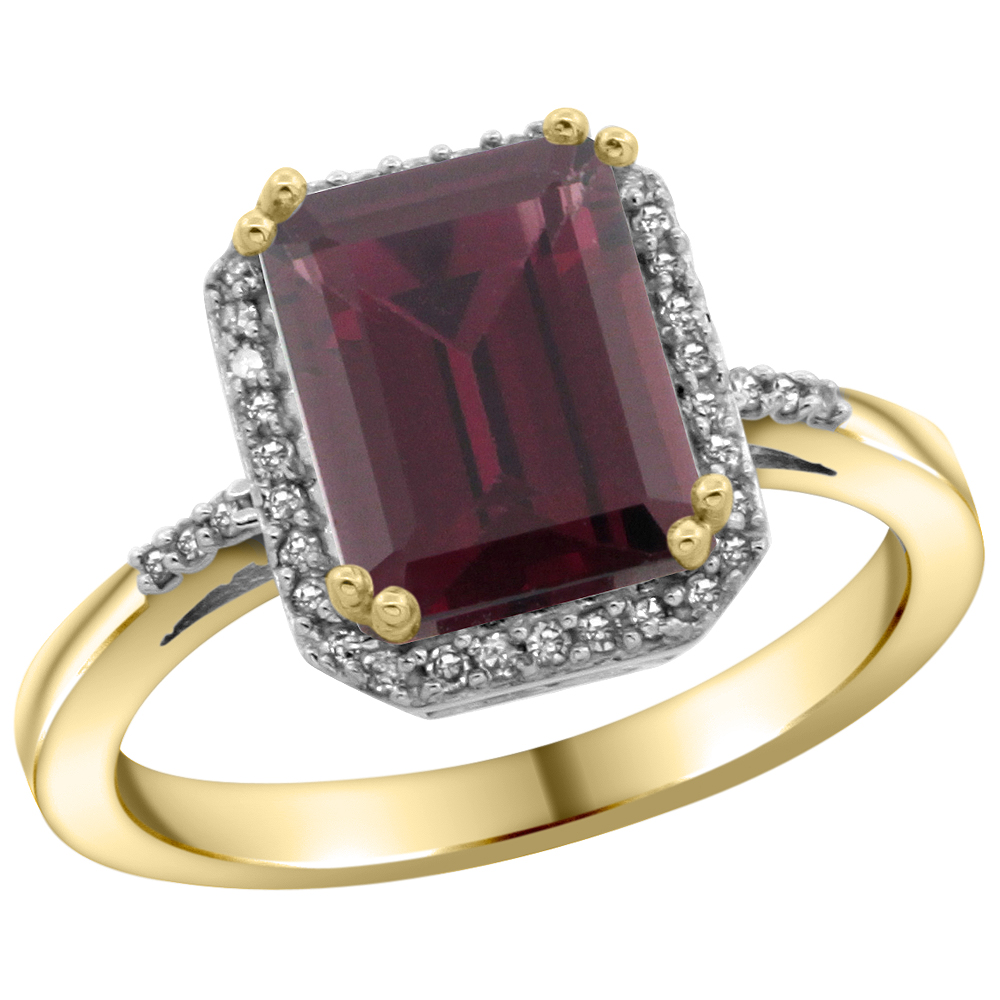 14K Yellow Gold Diamond Natural Rhodolite Ring Emerald-cut 9x7mm, sizes 5-10