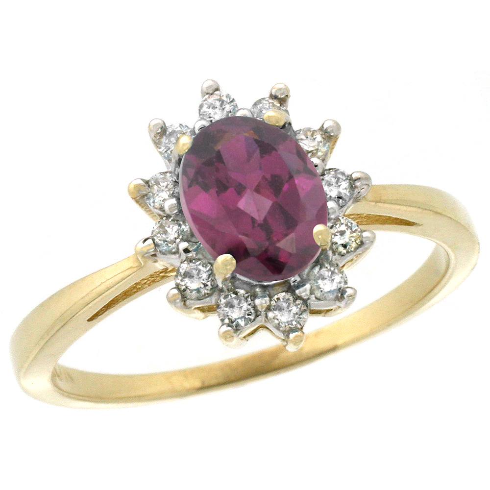 10k Yellow Gold Natural Rhodolite Engagement Ring Oval 7x5mm Diamond Halo, sizes 5-10