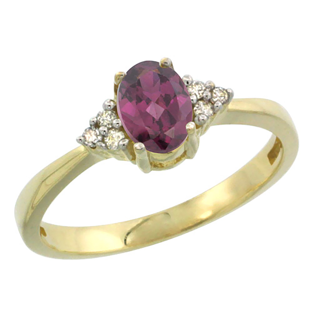 10KYellow Gold Natural Rhodolite Ring Oval 6x4mm Diamond Accent, sizes 5-10