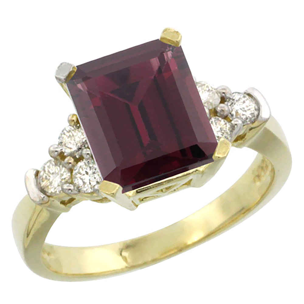 10K Yellow Gold Natural Rhodolite Ring Octagon 9x7mm Diamond Accent, sizes 5-10
