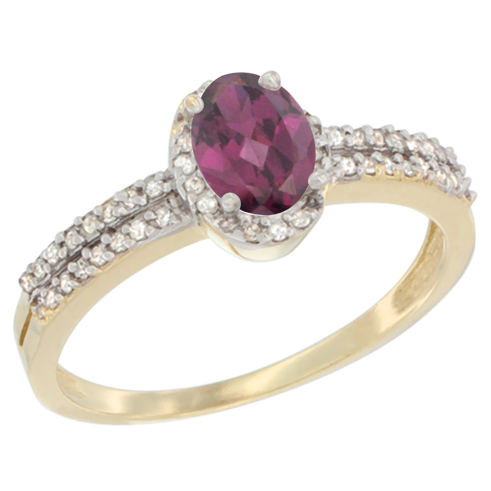 10K Yellow Gold Natural Rhodolite Ring Oval 6x4mm Diamond Accent, sizes 5-10