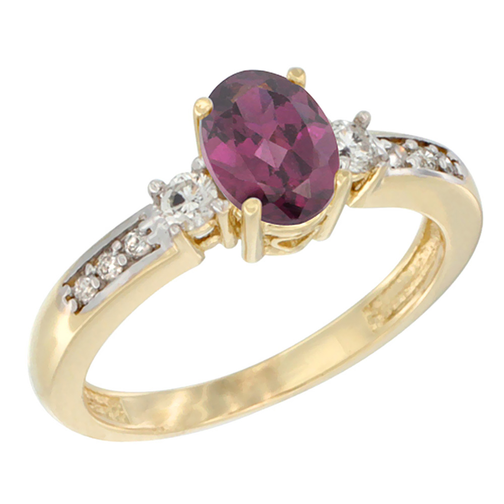 14K Yellow Gold Diamond Natural Rhodolite Engagement Ring Oval 7x5 mm, sizes 5 - 10