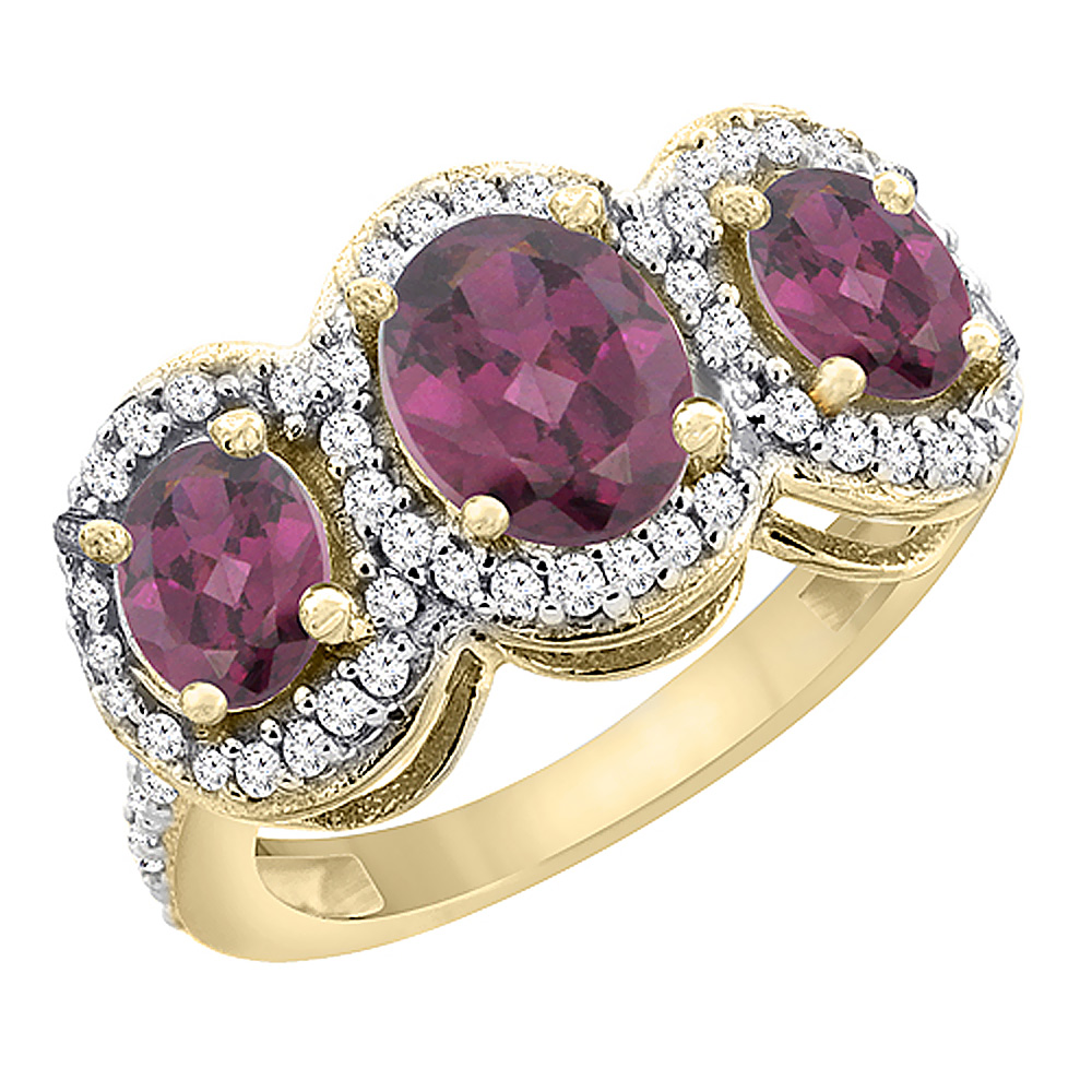14K Yellow Gold Natural Rhodolite 3-Stone Ring Oval Diamond Accent, sizes 5 - 10