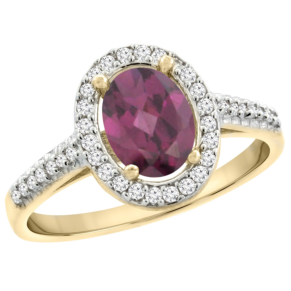 10K Yellow Gold Natural Rhodolite Engagement Ring Oval 7x5 mm Diamond Halo, sizes 5 - 10