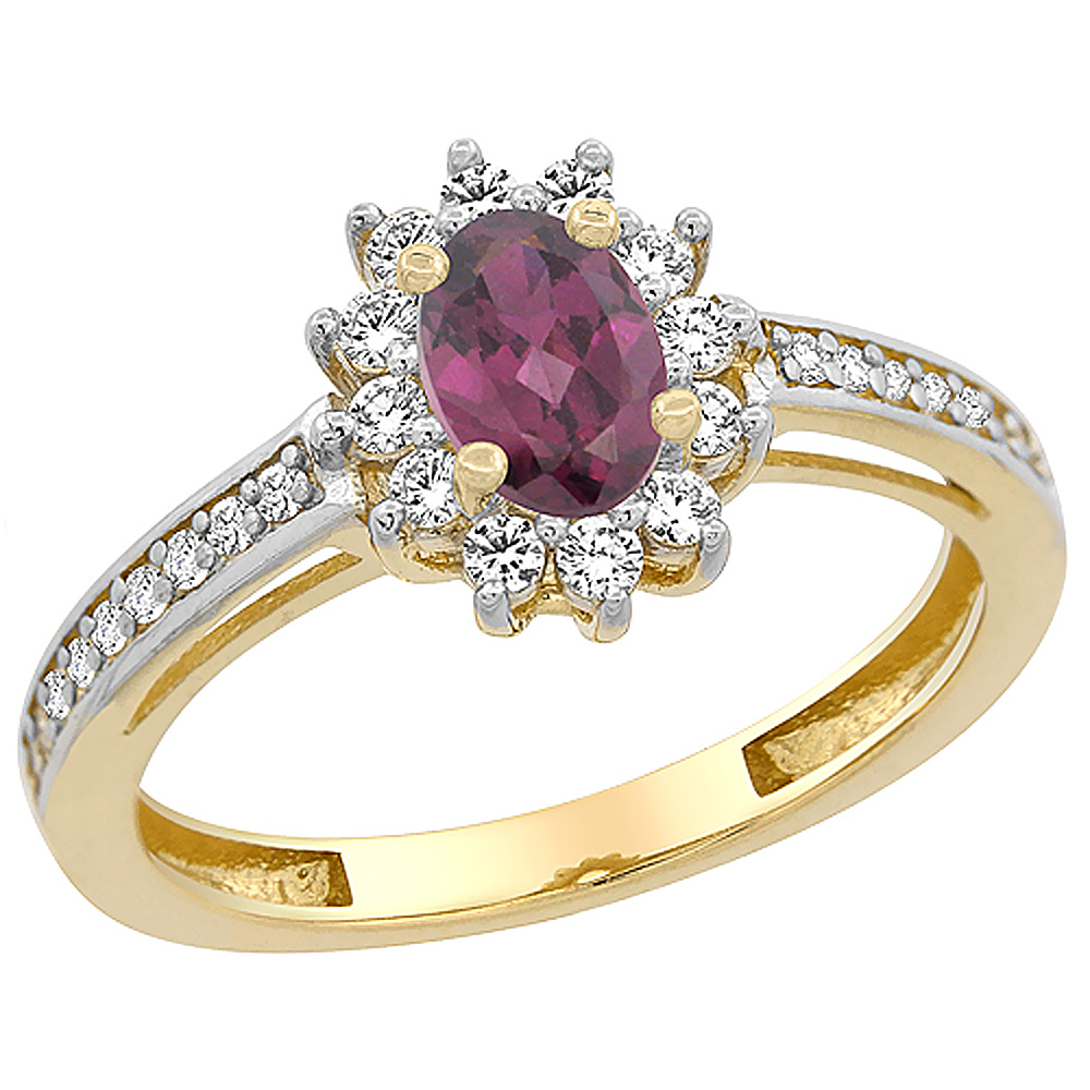 14K Yellow Gold Natural Rhodolite Flower Halo Ring Oval 6x4mm Diamond Accents, sizes 5 - 10