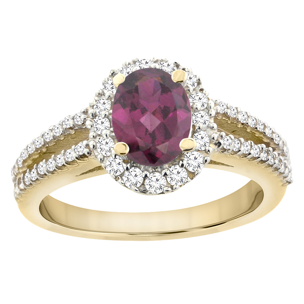 10K Yellow Gold Natural Rhodolite Split Shank Halo Engagement Ring Oval 7x5 mm, sizes 5 - 10