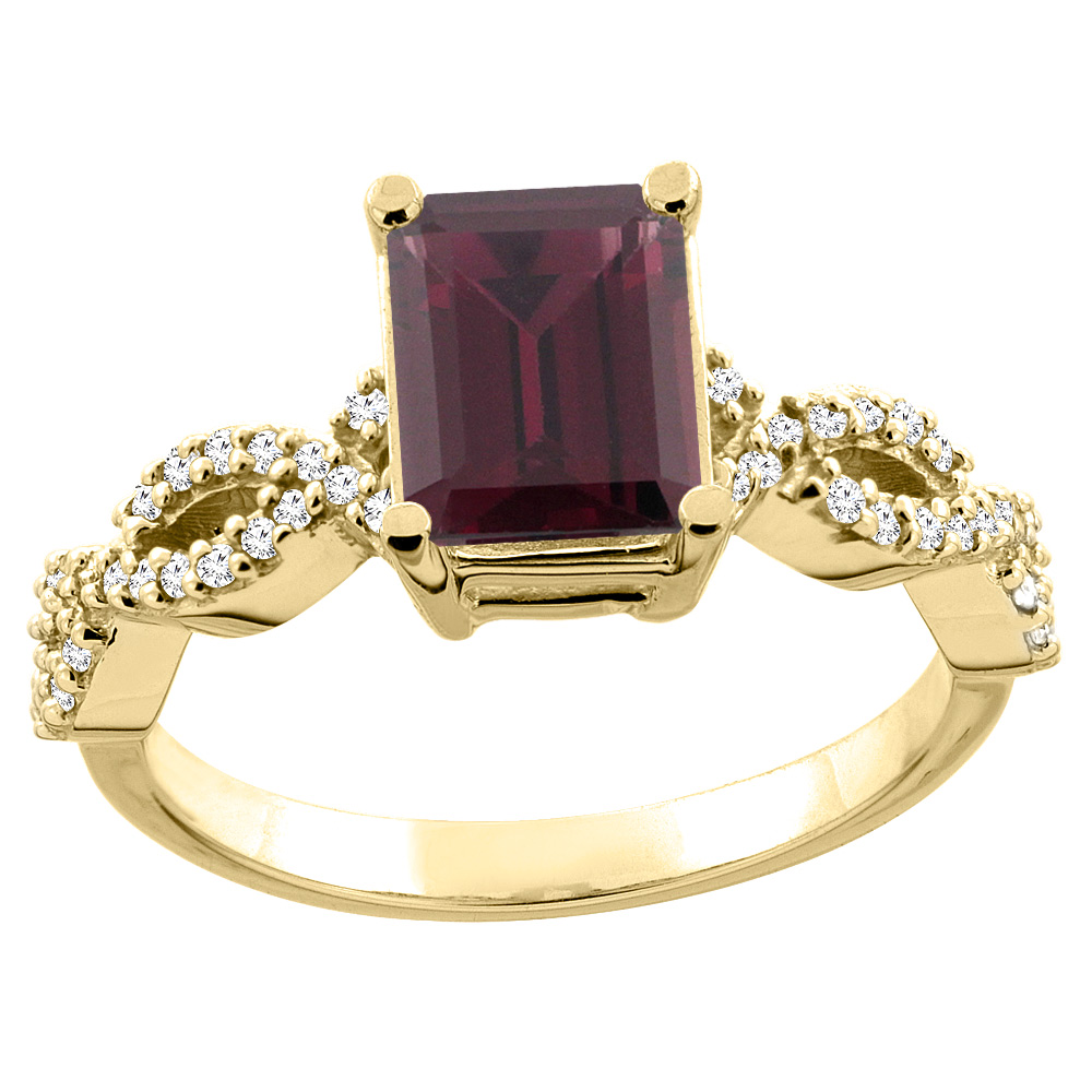14K White/Yellow Gold Natural Rhodolite Eternity Ring Octagon 9x7mm Diamond Accent, sizes 5 - 10