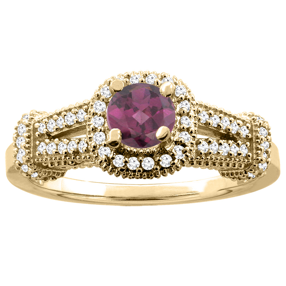 10K Yellow Gold Natural Rhodolite Engagement Halo Ring Round 5mm Diamond Accents, sizes 5 - 10