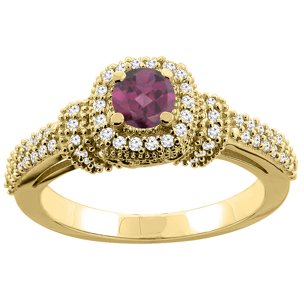14K Gold Natural Rhodolite Engagement Halo Ring Round 5mm Diamond Accents, sizes 5 - 10