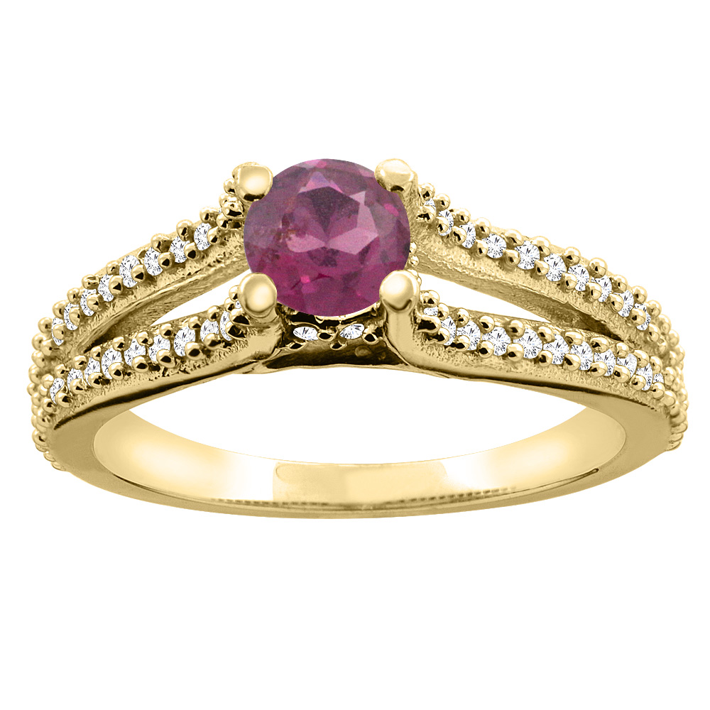 10K Yellow Gold Natural Rhodolite Engagement Split Shank Ring Round 5mm Diamond Accents, sizes 5 - 10