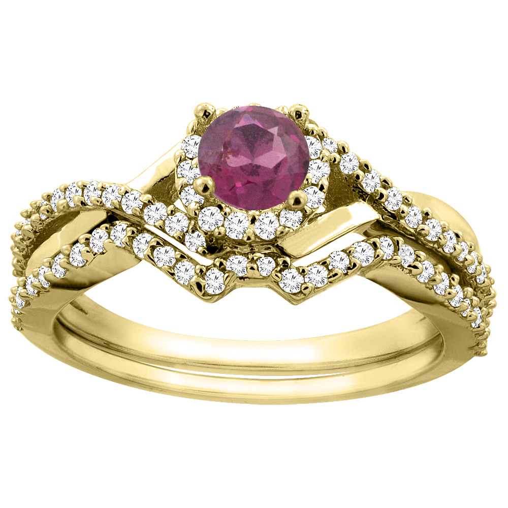 10K Gold Natural Rhodolite 2-piece Bridal Ring Set Round 5mm, sizes 5 - 10