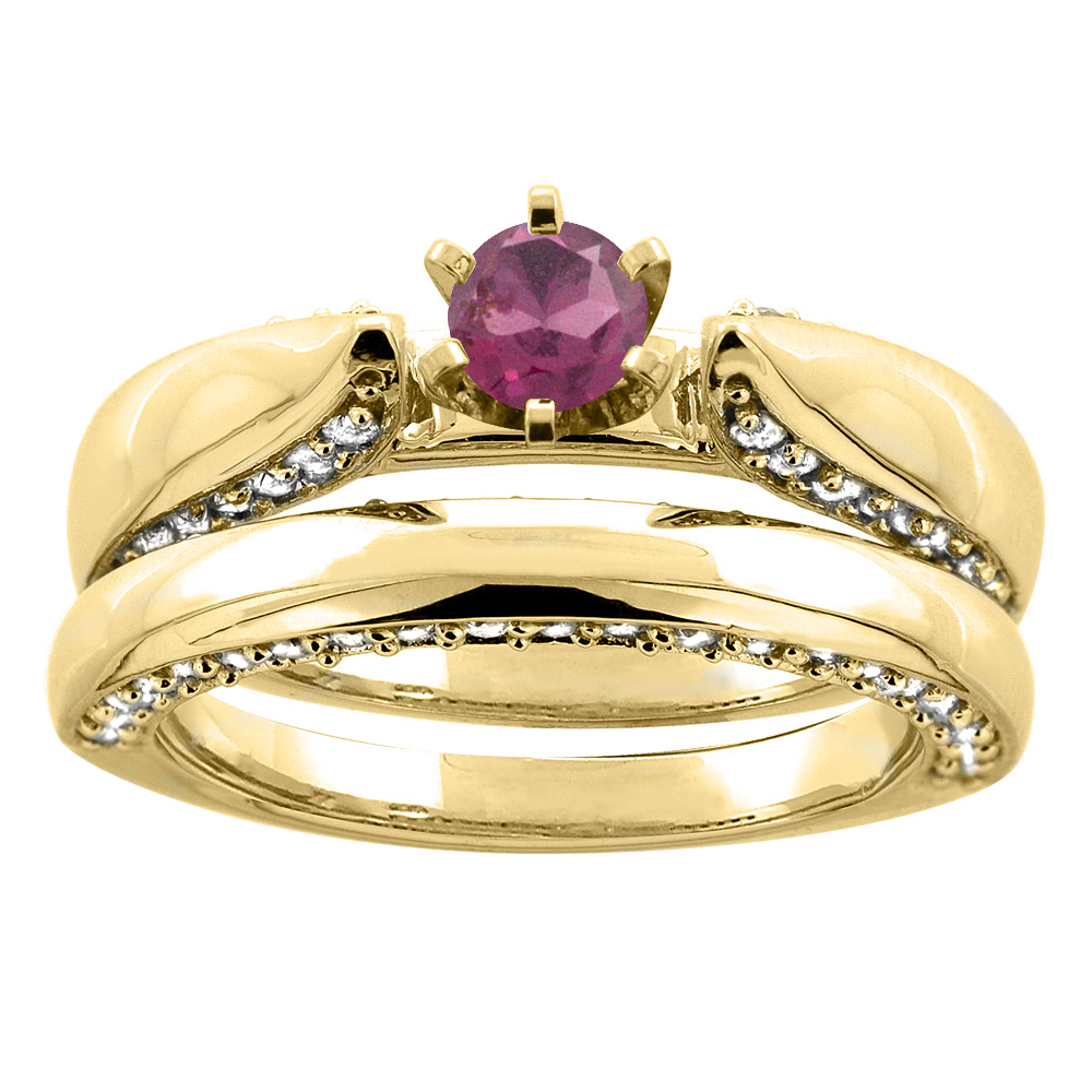 10K Yellow Gold Natural Rhodolite 2-piece Bridal Ring Set Diamond Accents Round 5mm, sizes 5 - 10