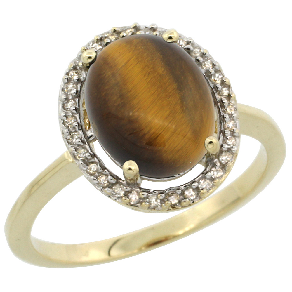 10K Yellow Gold Diamond Halo Natural Tiger Eye Engagement Ring Oval 10x8 mm, sizes 5 10