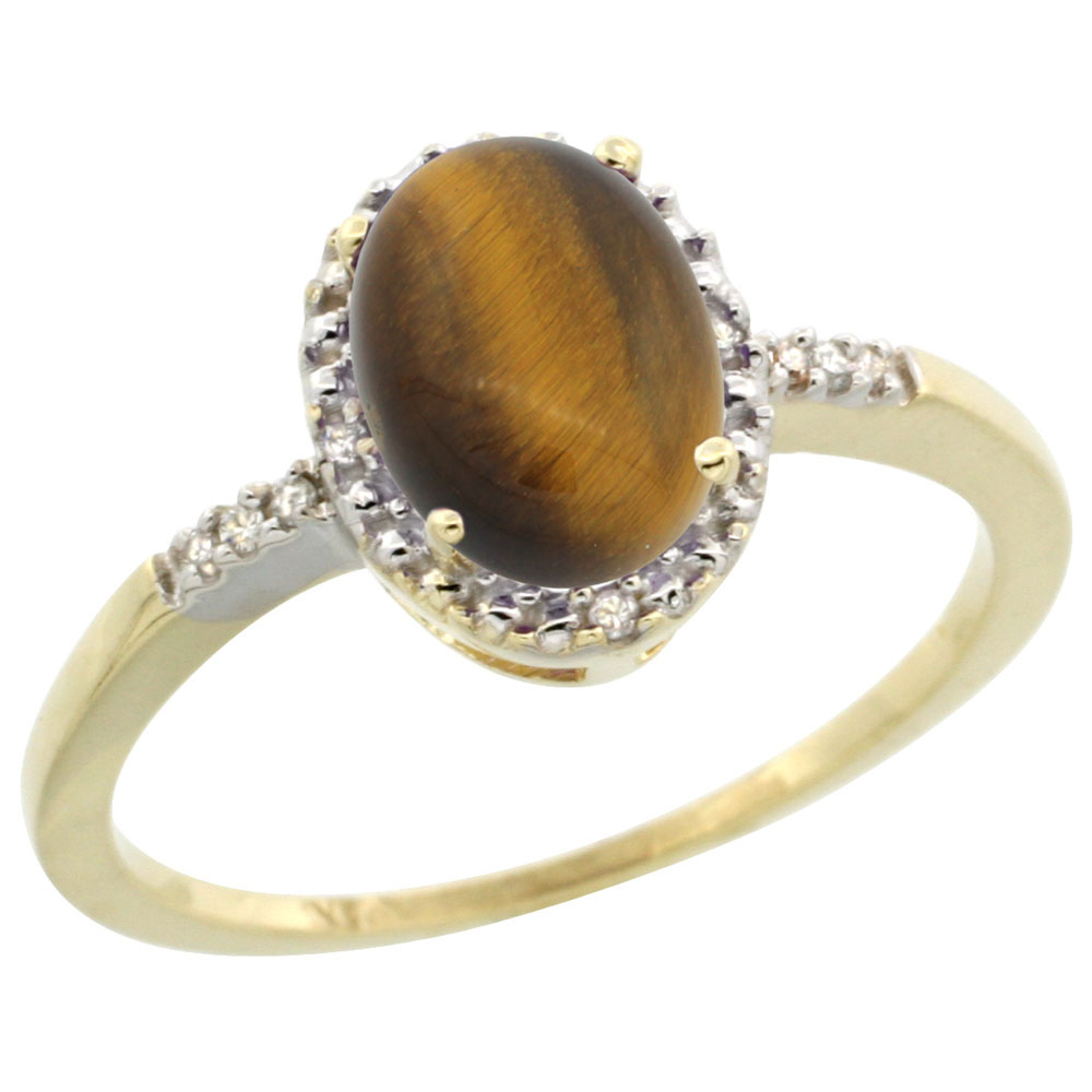 10K Yellow Gold Diamond Natural Tiger Eye Ring Oval 8x6mm, sizes 5-10