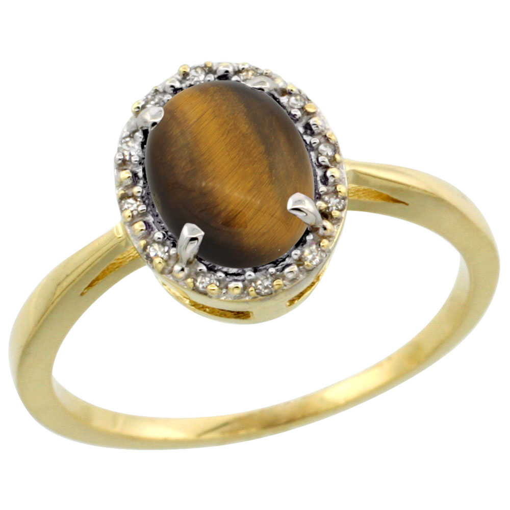 10k Yellow Gold Natural Tiger Eye Ring Oval 8x6 mm Diamond Halo, sizes 5-10
