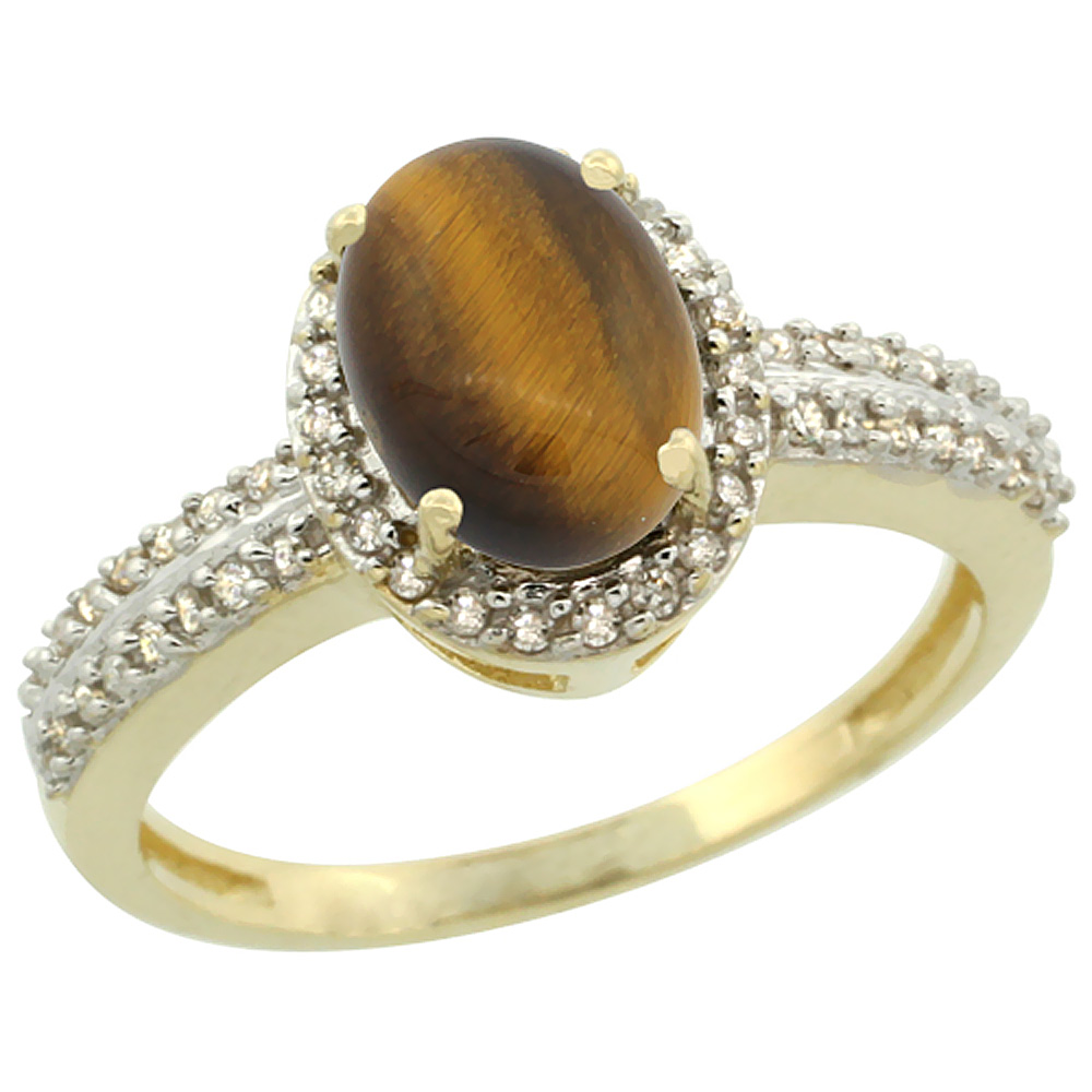 10k Yellow Gold Natural Tiger Eye Ring Oval 8x6mm Diamond Halo, sizes 5-10