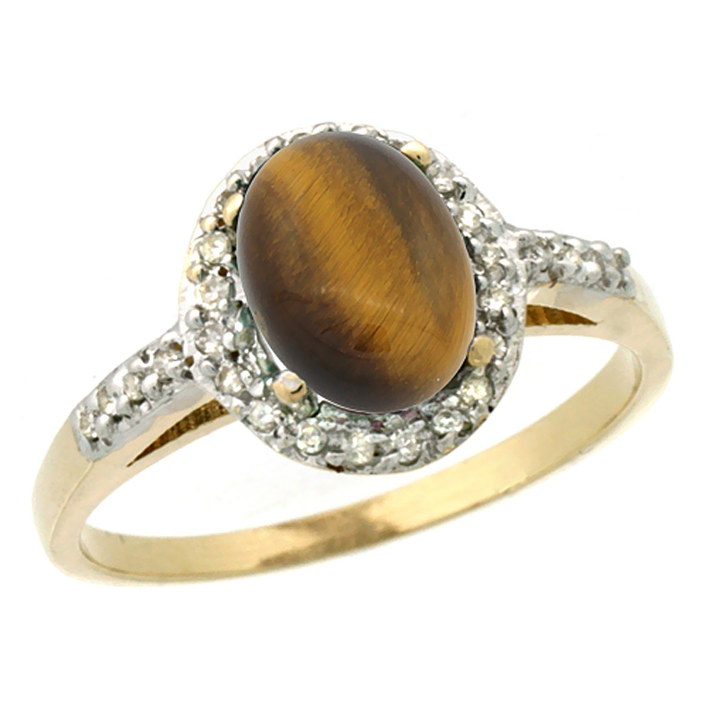 14K Yellow Gold Diamond Natural Tiger Eye Ring Oval 8x6mm, sizes 5-10
