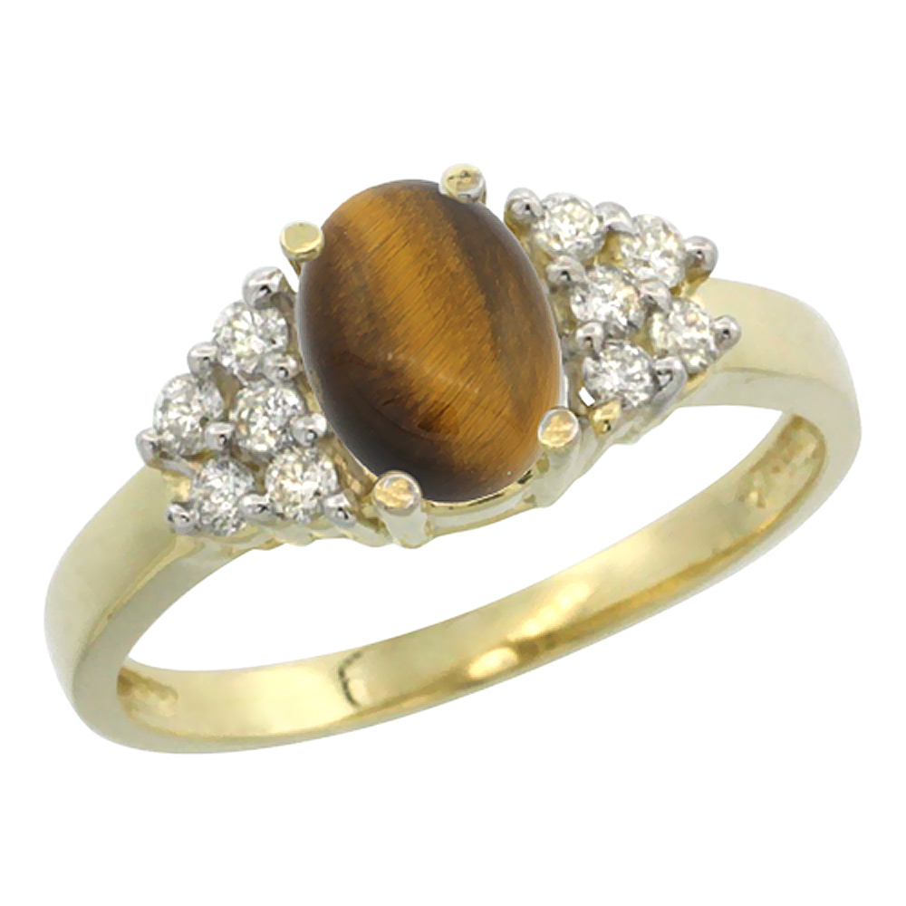 14K Yellow Gold Natural Tiger Eye Ring Oval 8x6mm Diamond Accent, sizes 5-10