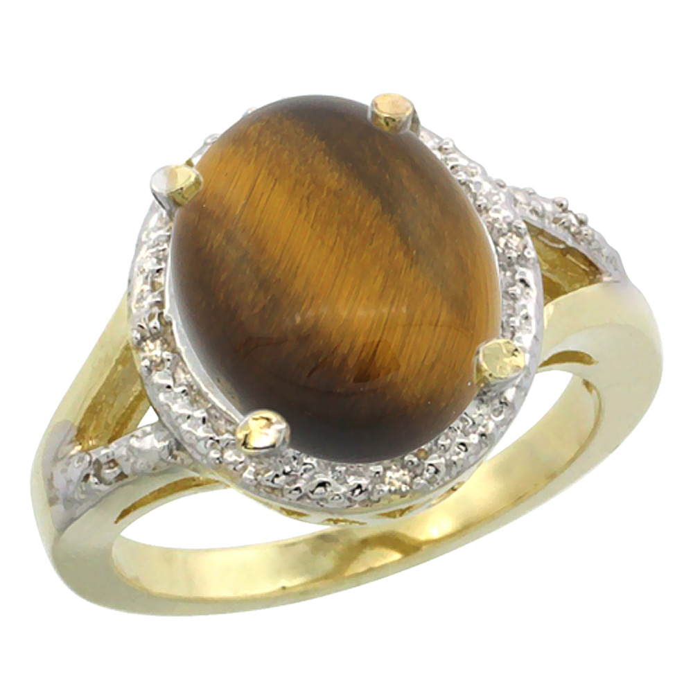 10K Yellow Gold Natural Tiger Eye Ring Oval 12x10mm Diamond Accent, sizes 5-10