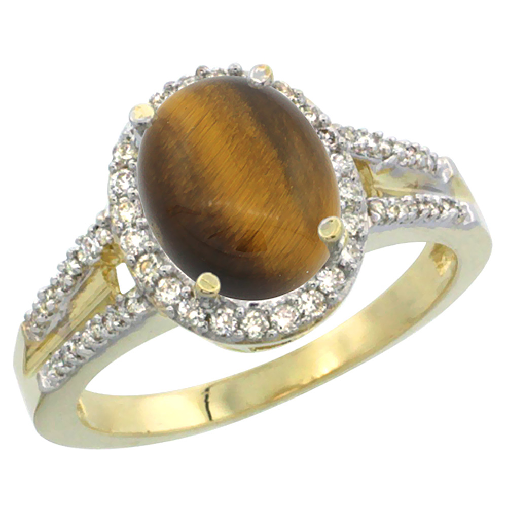 10K Yellow Gold Diamond Natural Tiger Eye Engagement Ring Oval 10x8mm, sizes 5-10