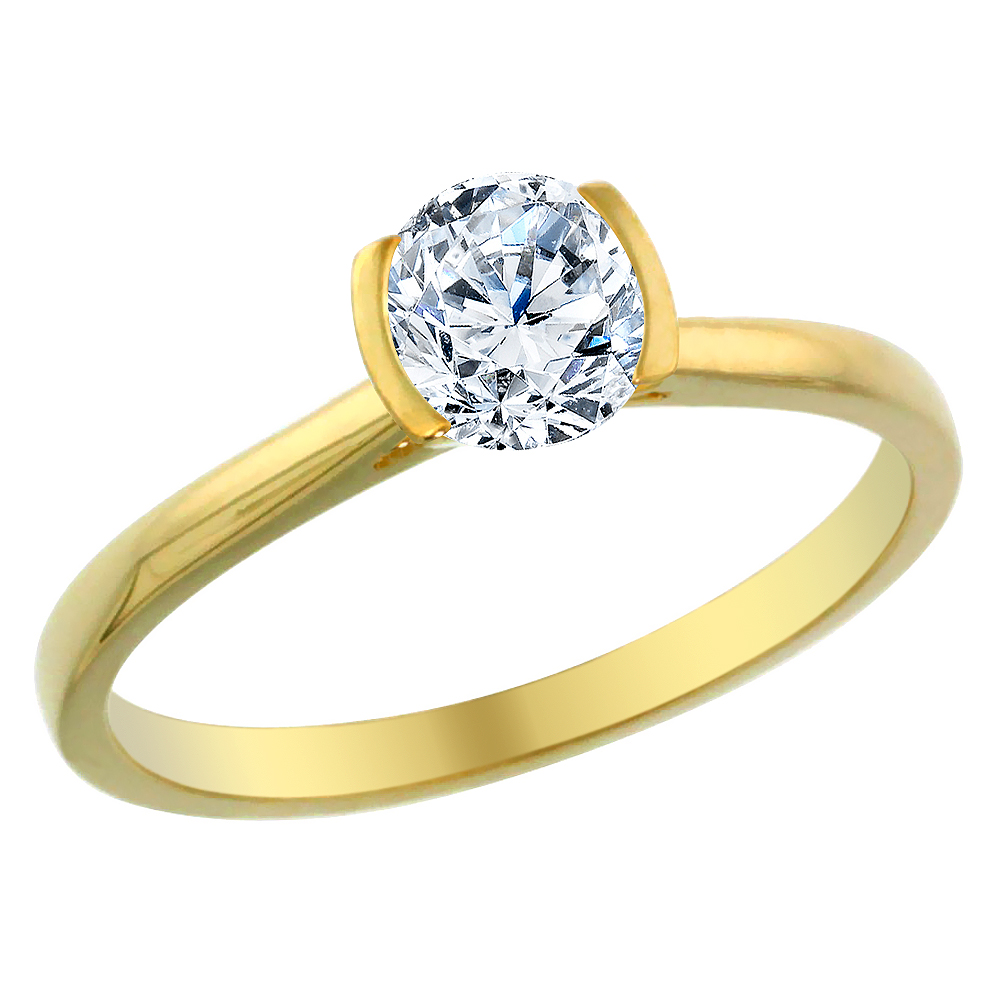 14K Yellow Gold 0.5 cttw Diamond Solitaire Ring Round, sizes 5 - 10