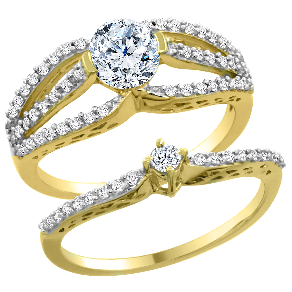 14K Yellow Gold Diamond 2-piece Engagement Ring Set 0.50ct, sizes 5 - 10