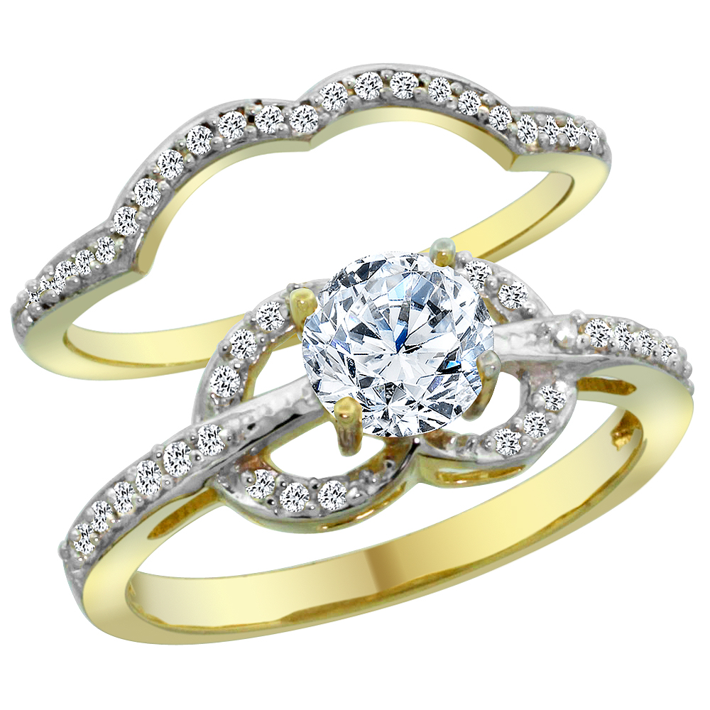 14K Yellow Gold Diamond 2-piece Engagement Ring Set 1.15ct, sizes 5 - 10