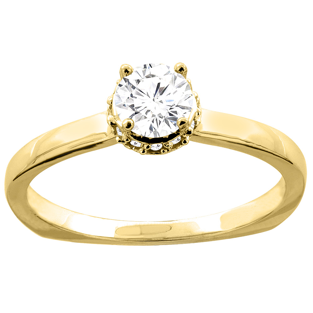 10K Gold Floral Halo 0.30 cttw Diamond Solitaire Engagement Ring, sizes 5 - 10