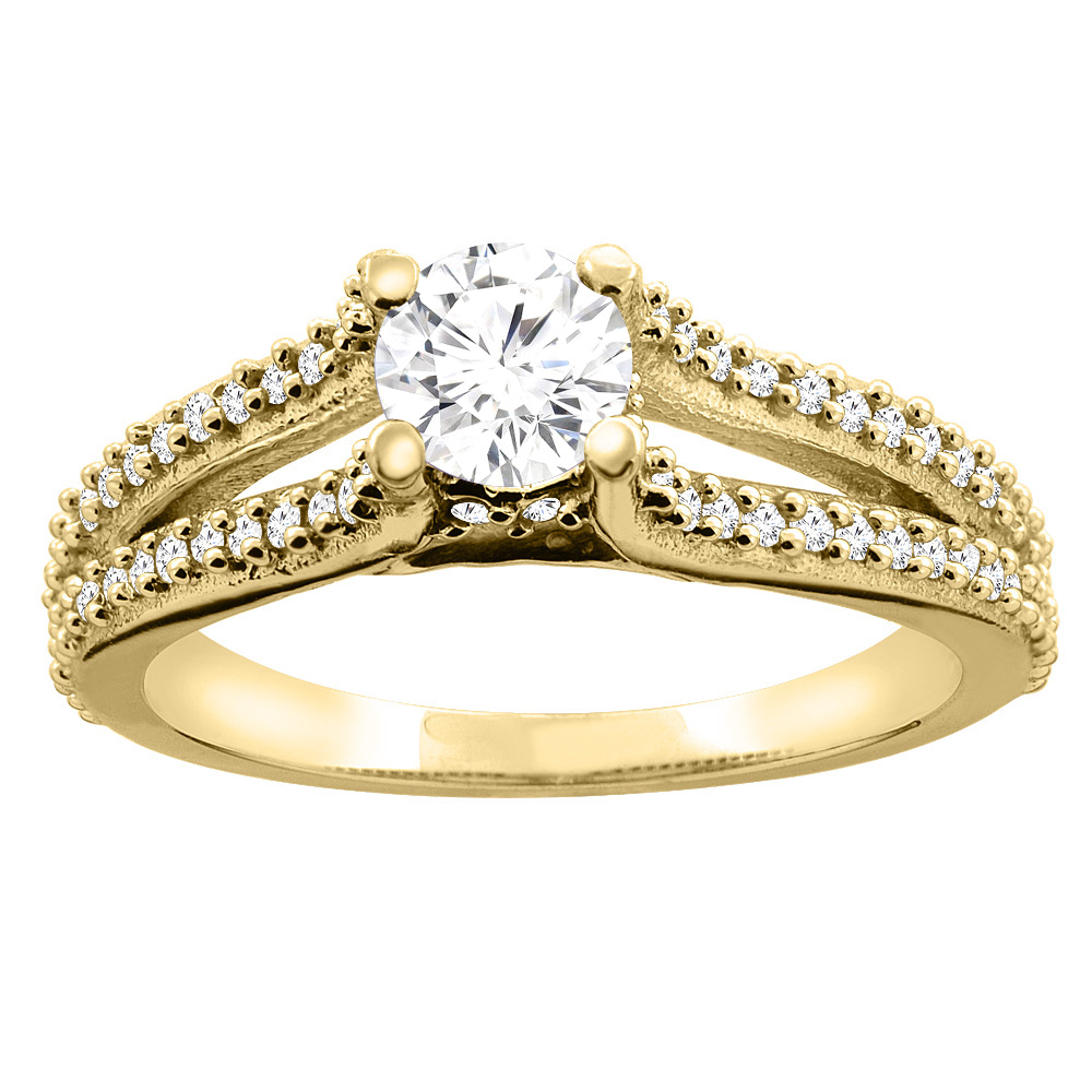 10K Yellow Gold 0.78 cttw Diamond Split Shank Engagement Ring, sizes 5 - 10