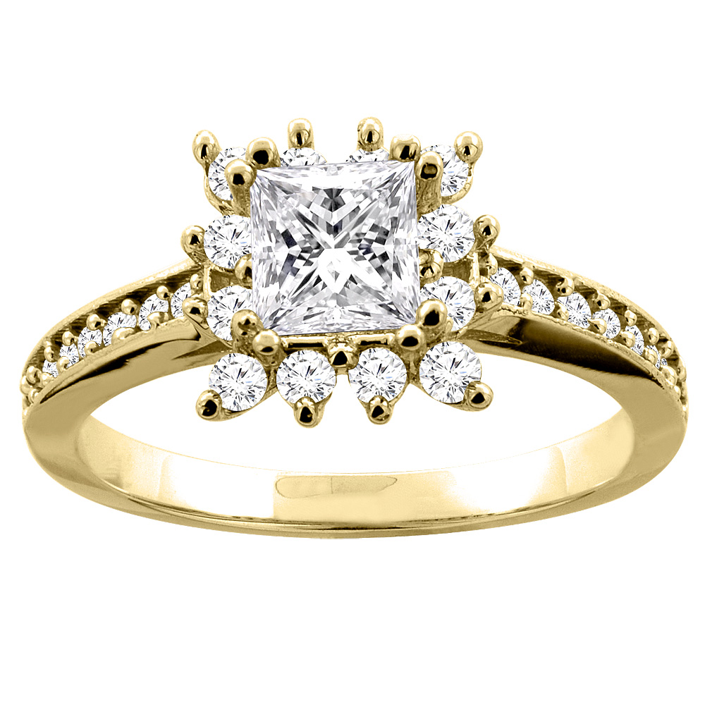10K Yellow Gold 1.03 ct Princess cut Floral Halo Diamond Engagement Ring, sizes 5 - 10