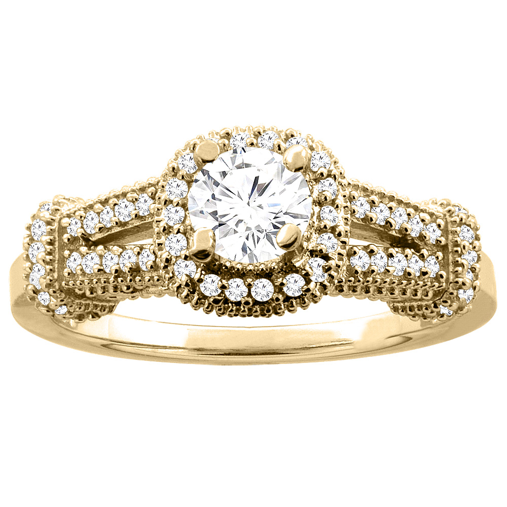10K Yellow Gold 0.70 cttw Diamond Halo Engagement Ring, sizes 5 - 10